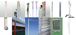 волейболни алуминиеви стойки, мрежи, мобилни пилони, стол, стойка съдия, антена
