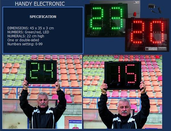 Преносимо електронно табло за футболни смени