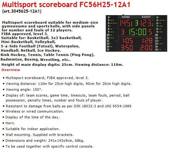 Баскетболно табло за отчитане на резултата, времето и нарушенията