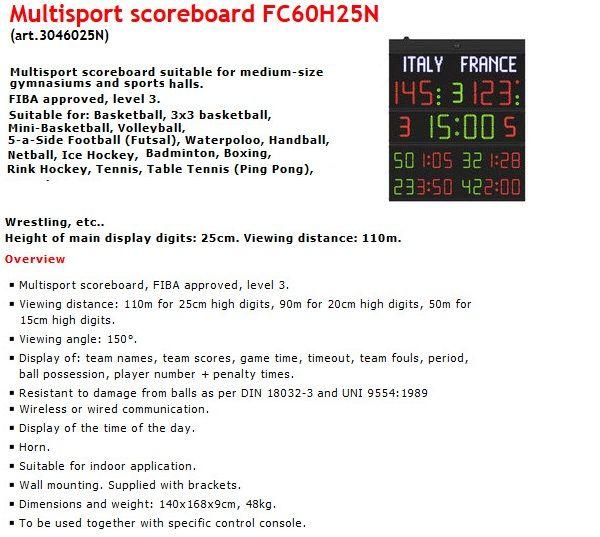Баскетболно табло за отчитане на резултата и времето