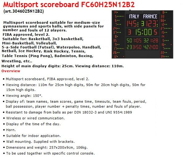 Електронно табло за отчитане на резултата, времето и нарушенията