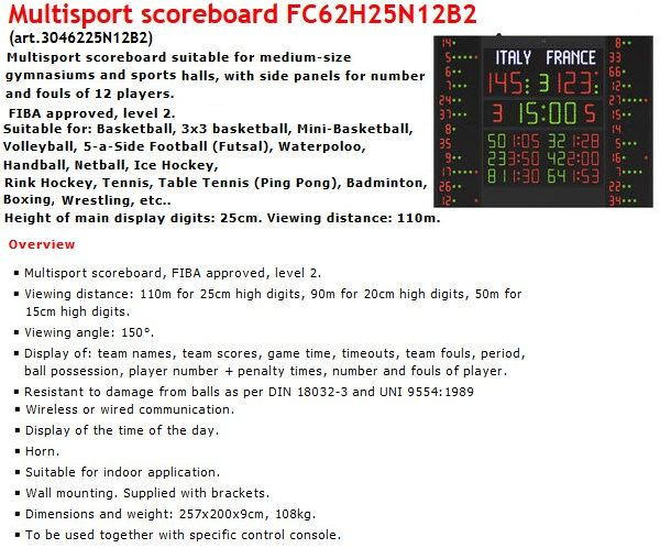 Баскетболно електронно табло за резултат, време и нарушения