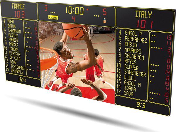 Спортно електронно табло за баскетбол с видеоекран за повторения