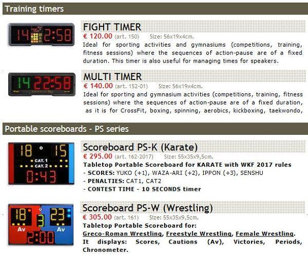 Професионални спортни електронни табла за бойни спортове