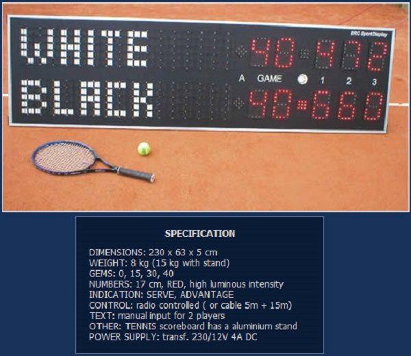 Спортно електронно табло за тенис на корт