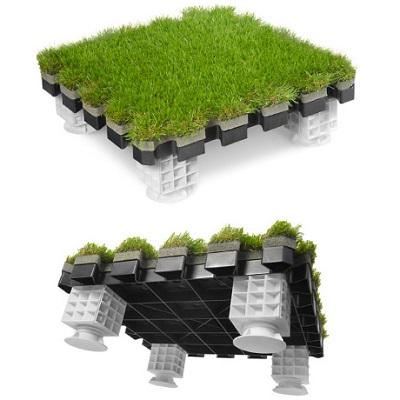 Зелена изкуствена трева на тип пъзел  на плочи за тераса, покрив, фасада, двор